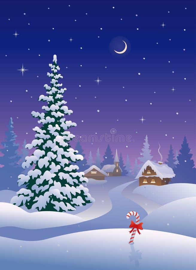 Вертикаль деревни рождества иллюстрация штока