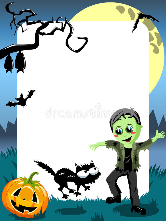 Вертикаль изверга ребенк рамки фото хеллоуина иллюстрация штока