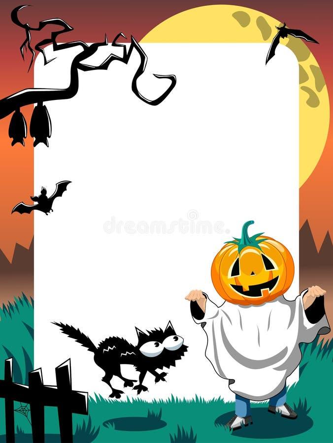 Вертикаль ребенк рамки фото хеллоуина фантомная иллюстрация вектора