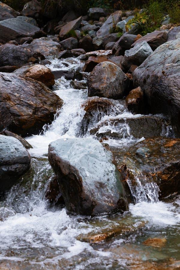вертикаль реки панорамы горы 3 изображений hdr Быстрая вода потока также стоковое изображение rf