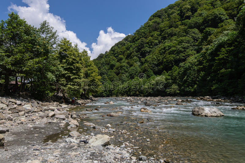 вертикаль реки панорамы горы 3 изображений hdr Сочи стоковые изображения