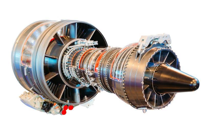 Вертолет реактивного двигателя, турбина изолировал белую предпосылку стоковая фотография