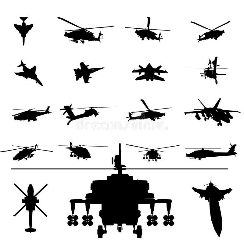 вертолет самолет-истребителя иллюстрация вектора