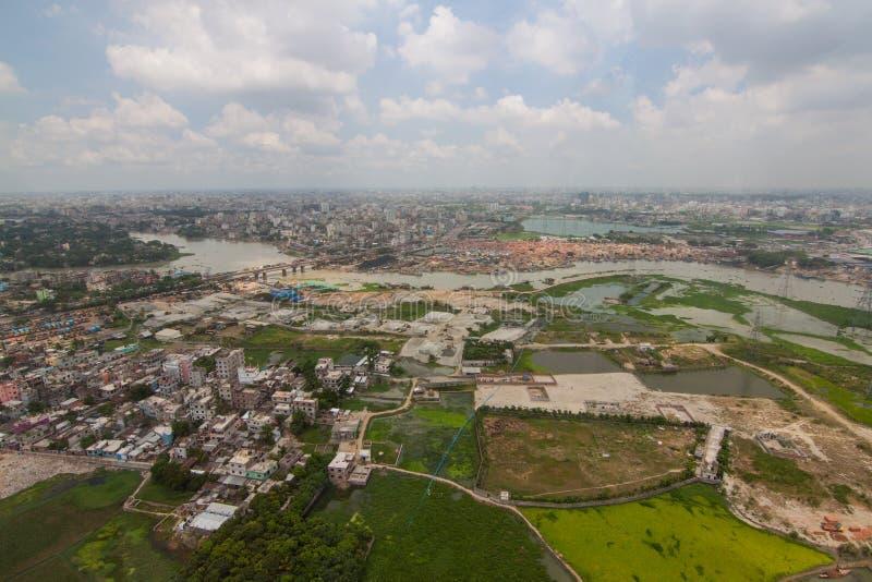 Вертолет снятый от Дакки, Бангладеш стоковые фотографии rf