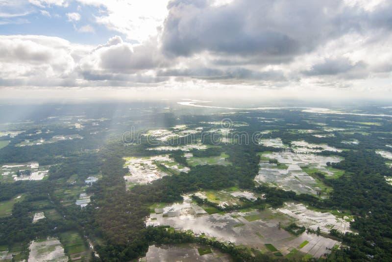 Вертолет снятый от Дакки, Бангладеш стоковая фотография