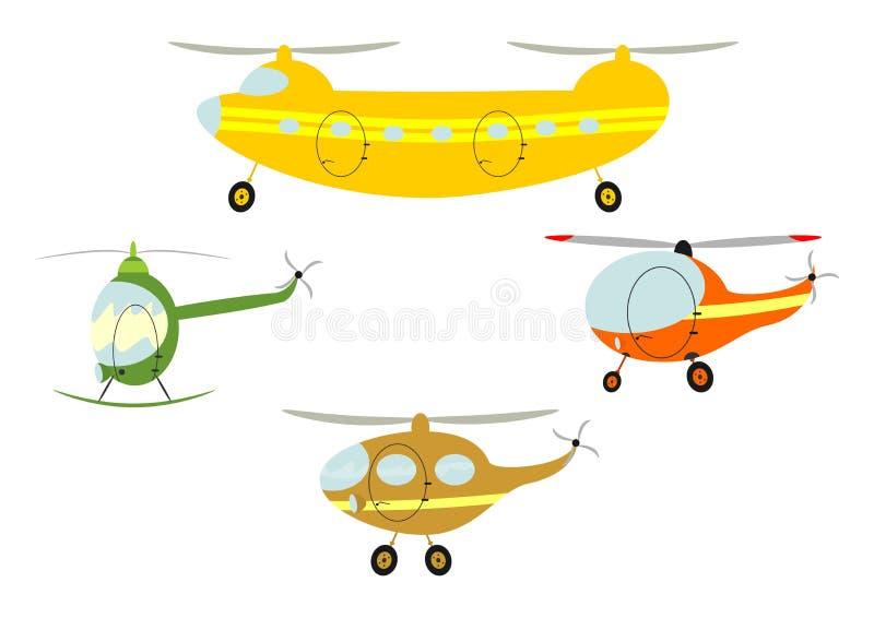 Вертолеты шаржа иллюстрация вектора