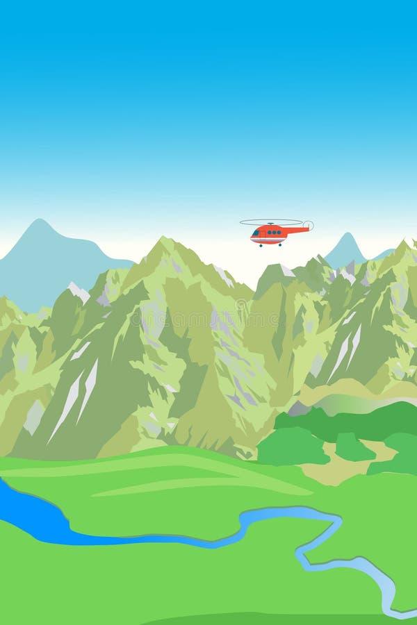 Вертолет горной цепи и спасения Предпосылка вектора Горный вид Заводь горы иллюстрация штока