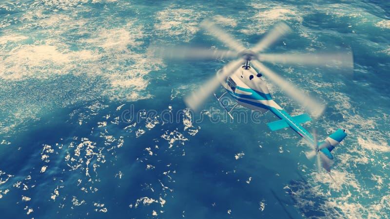 Вертолет летает над океанскими волнами иллюстрация вектора