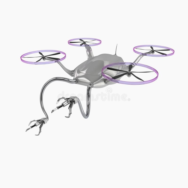 Вертолет летания с робототехническими оружиями иллюстрация вектора