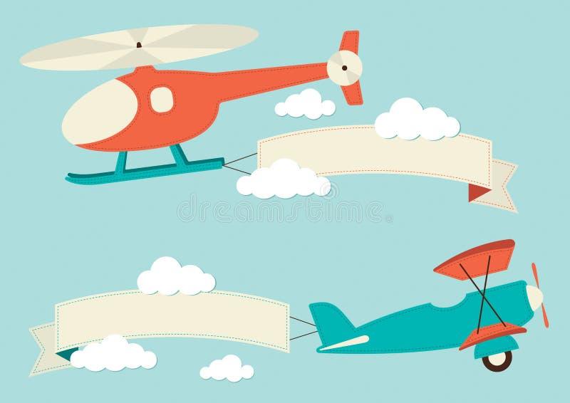 Вертолет и самолет иллюстрация штока