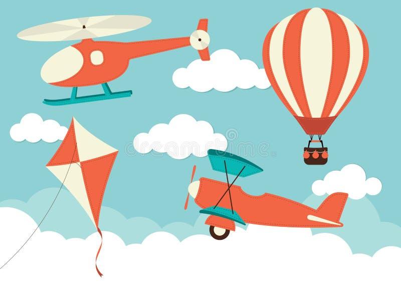 Вертолет, самолет, змей & горячий воздушный шар иллюстрация вектора
