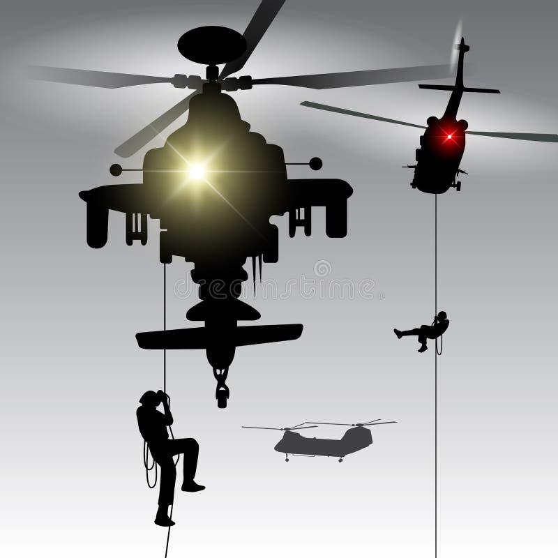 Вертолет с войсками посадки бесплатная иллюстрация