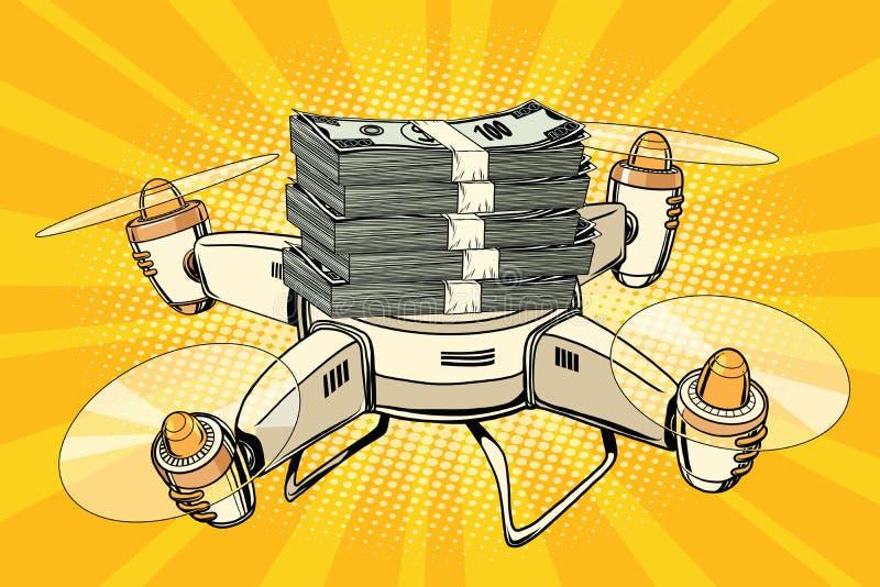 Вертолет трутня с пачками денег иллюстрация штока