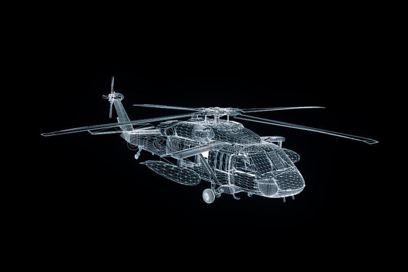 Вертолет Hologram Wireframe в движении Славный перевод 3D бесплатная иллюстрация