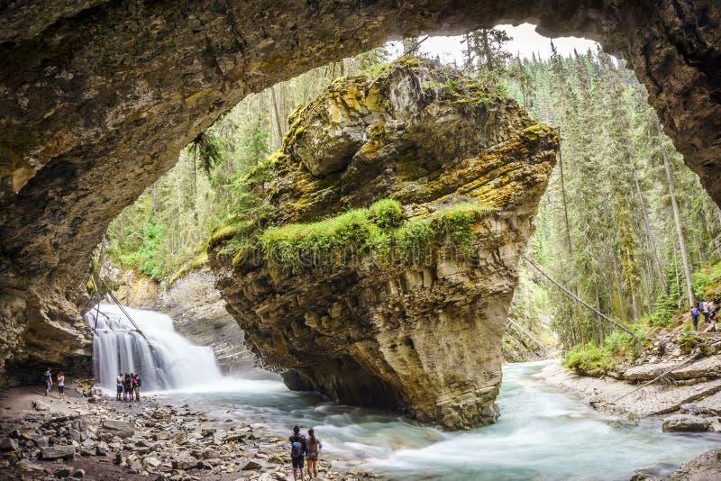 Верхние водопады Johnston в национальном парке Banff, Альберте, Canad стоковые изображения rf