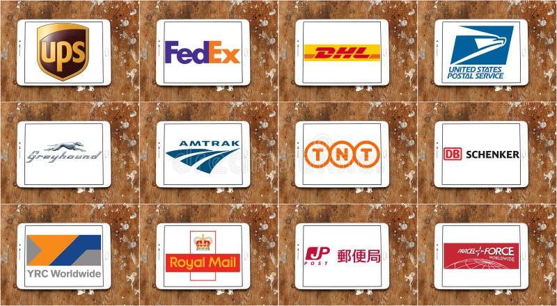 Верхние известные почтовые логотипы и вектор компаний по транспортировке грузов стоковая фотография rf