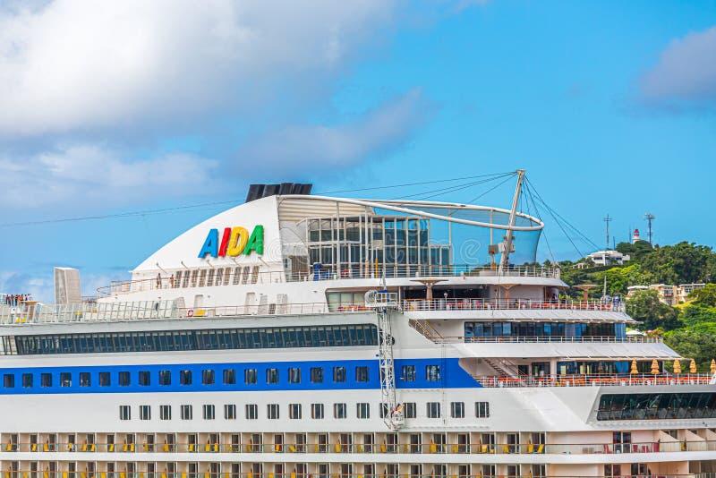 Верхние палубы туристического судна Aida стоковые изображения rf