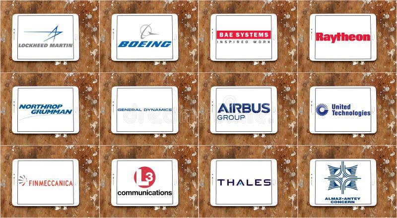 Верхние самые большие логотипы и значки компаний обрабатывающей промышленности оружий иллюстрация вектора