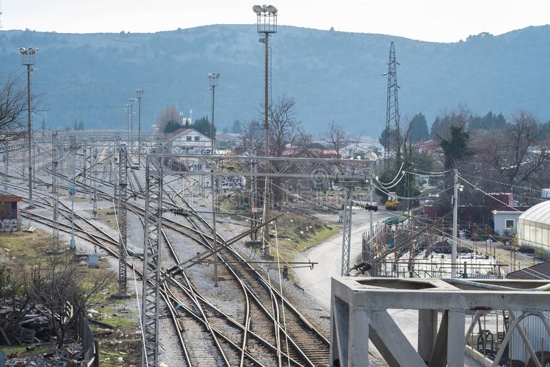 Верхний взгляд перспективы на железнодорожный разветвлять стоковая фотография rf