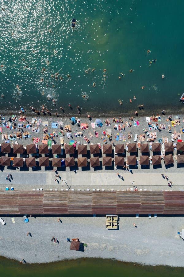 Верхний вид с воздуха пляжа стоковые изображения rf