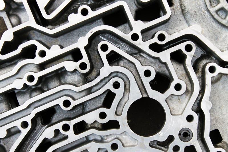 Верхняя сторона алюминиевых частей двигателя стоковая фотография rf
