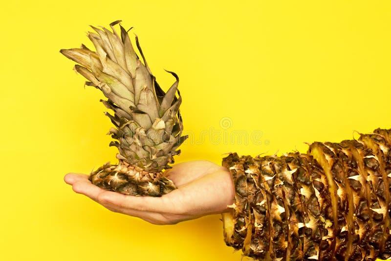 Верхняя часть ананаса с листьями в руке и остальноях кожи стоковое фото rf