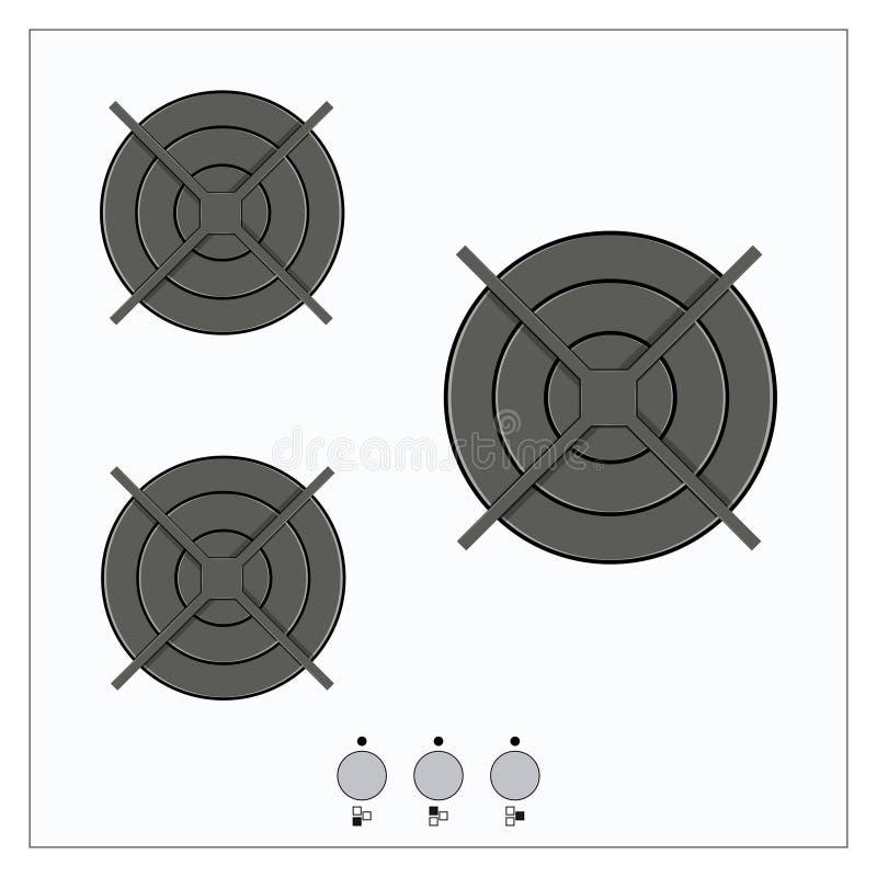 Верхняя часть газа вектора газовой плиты кухни бесплатная иллюстрация