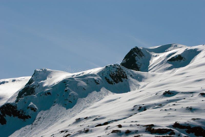 верхняя часть горы снежная стоковое изображение rf