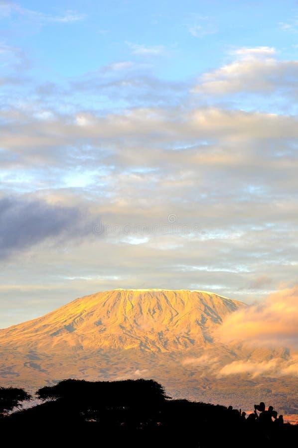 Верхняя часть горы kilimanjaro в восходе солнца стоковое изображение