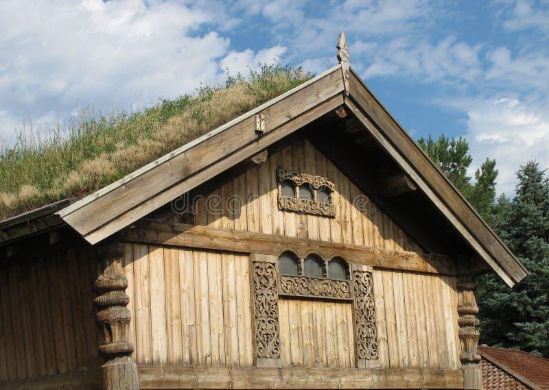 Верхняя часть дома с крышей травы стоковая фотография rf
