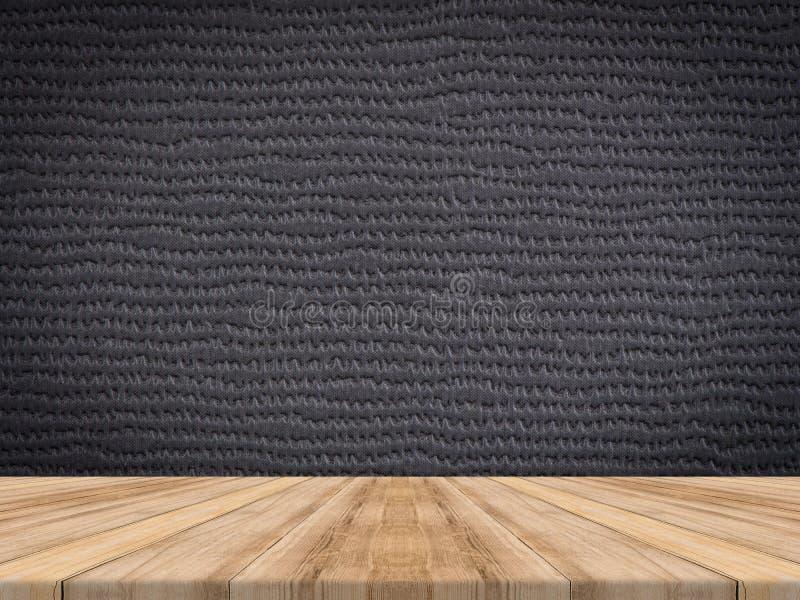 Верхняя часть деревянного стола на тропической кожаной стене текстуры, насмешка шаблона стоковое фото