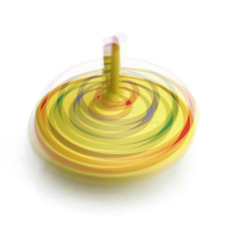 Верхняя часть желтой игрушки закручивая в движении стоковые фото