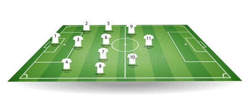 Верхняя часть и взгляд со стороны футбольного поля с футболкой командных игроков Текстурированное футбольное поле в перспективе иллюстрация штока