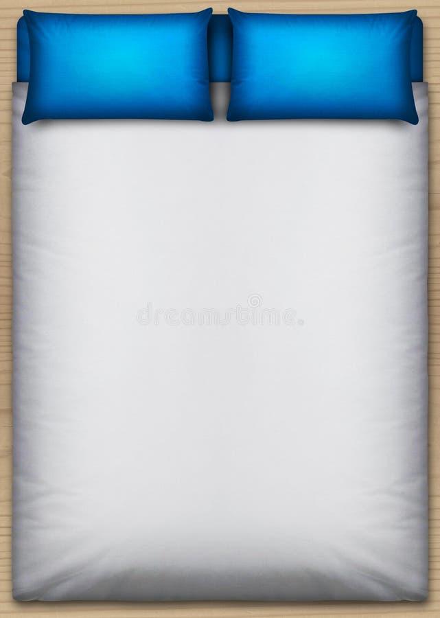 Верхняя часть кровати и постельных принадлежностей сразу иллюстрация вектора