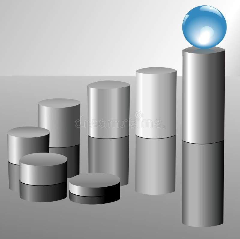 верхняя часть прогресса диаграммы голубой диаграммы шарика кристаллическая бесплатная иллюстрация