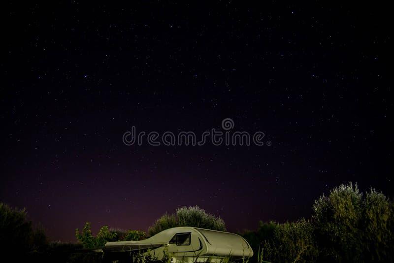 Верхняя часть туриста под звездной ночью среди деревьев стоковое фото
