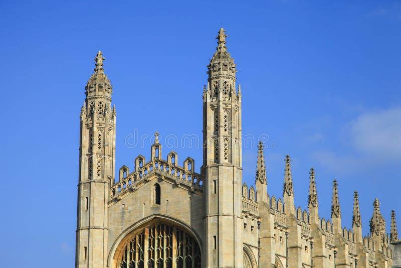 ВЕРХНЯЯ ЧАСТЬ часовни в коллеже ` s короля в Кембриджском университете стоковая фотография rf