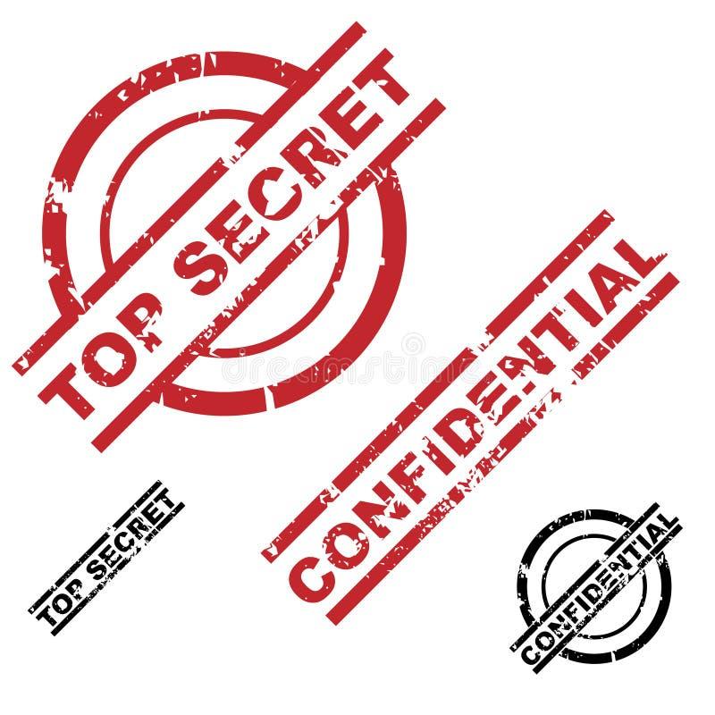 верхняя часть штемпеля конфиденциального секрета grunge установленная иллюстрация штока