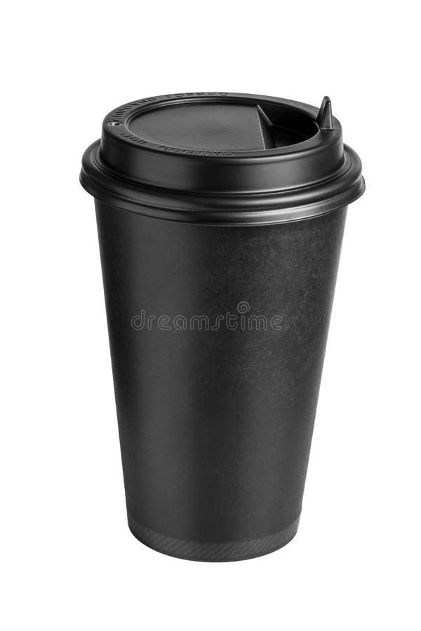 Верхн-передний взгляд кофейной чашки картона черной при крышка изолированная на белой предпосылке стоковая фотография