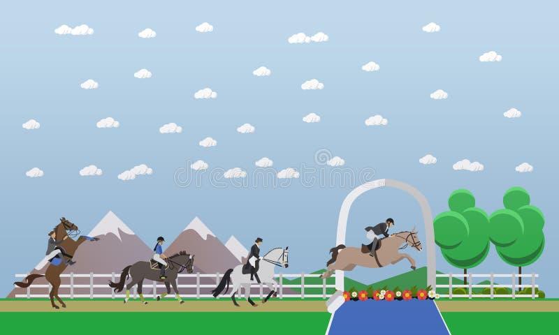 Верховая езда, выставка скача, иллюстрация вектора концепции конноспортивного спорта иллюстрация штока