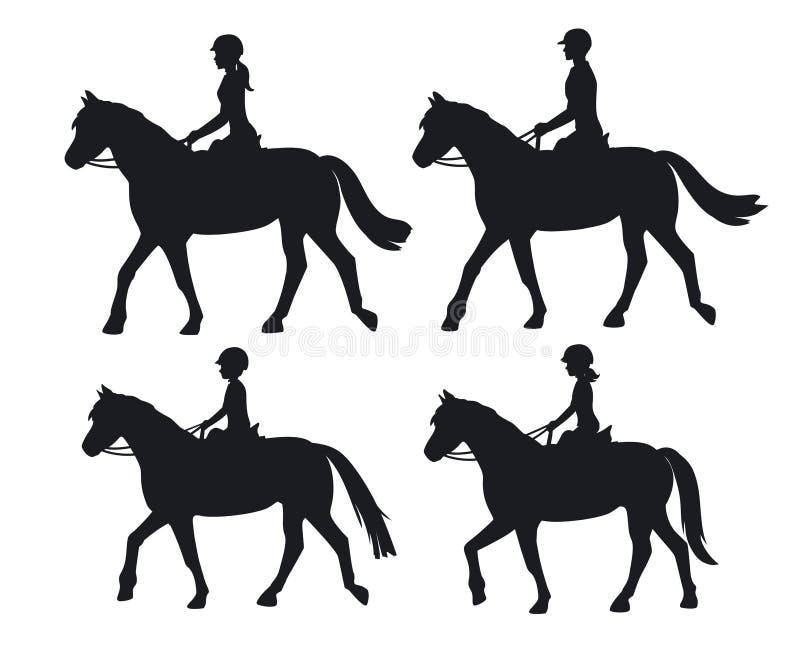 Верховые лошади силуэтов мальчика и девушки женщины человека иллюстрация вектора