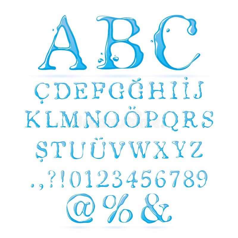 Верхушка алфавита воды - случай иллюстрация вектора