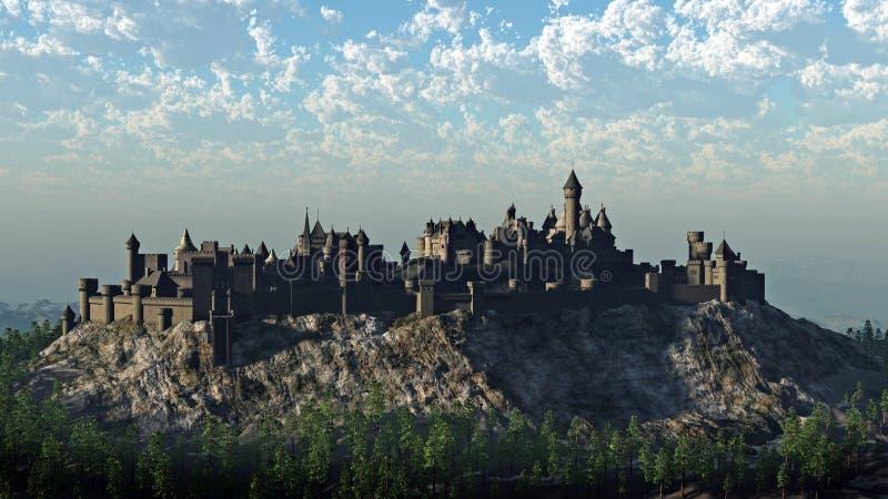 вершина холма замока средневековая иллюстрация штока