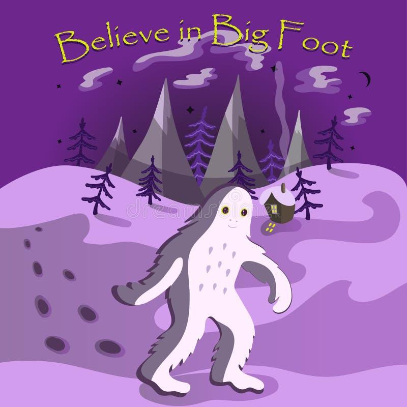 Верьте в большой открытке ноги с чудовищем идя через поселение ночи иллюстрация штока
