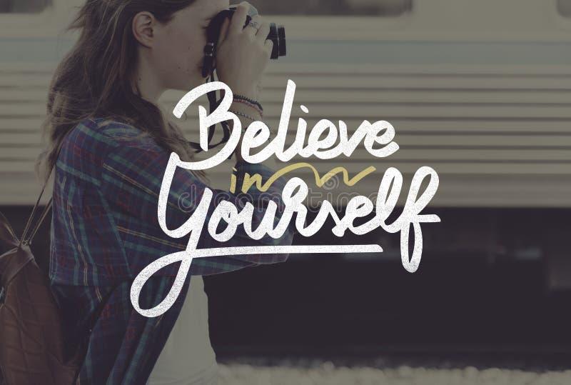 Верьте в себе уверенно ободрите концепцию мотивировки стоковая фотография rf