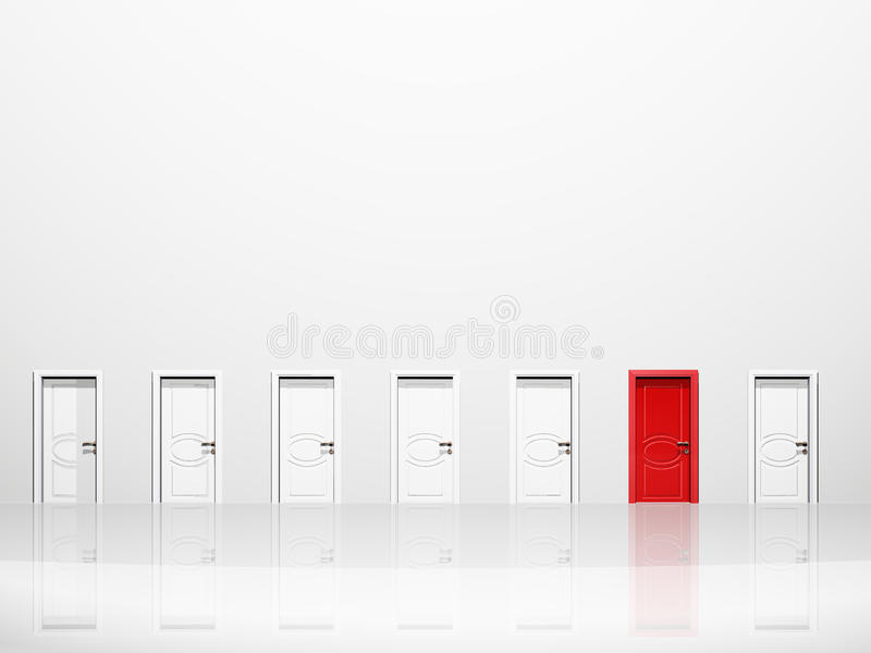 дверь красная определяет иллюстрация штока