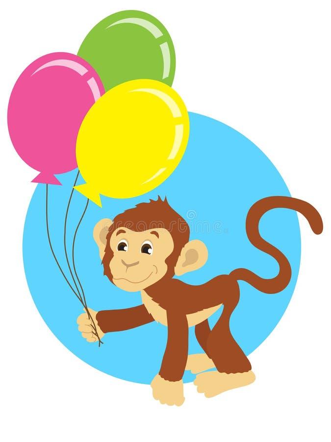 Веселая обезьяна с воздушными шарами на голубой предпосылке иллюстрация штока