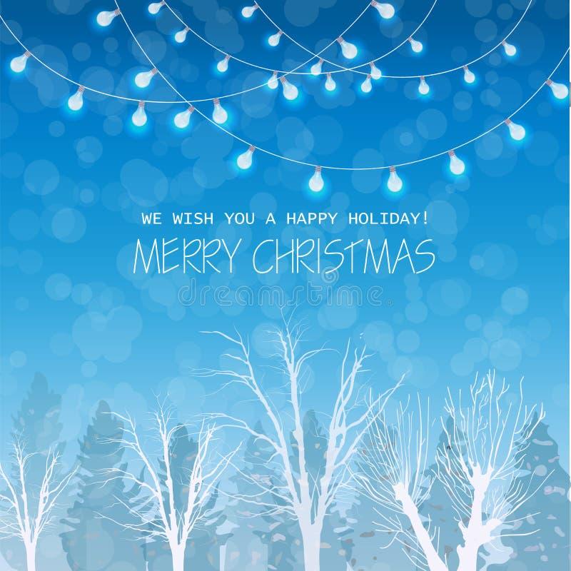 Веселая рождественская открытка на векторе предпосылки ландшафта зимы forrest Голубые света на верхних красивых картах праздника иллюстрация вектора