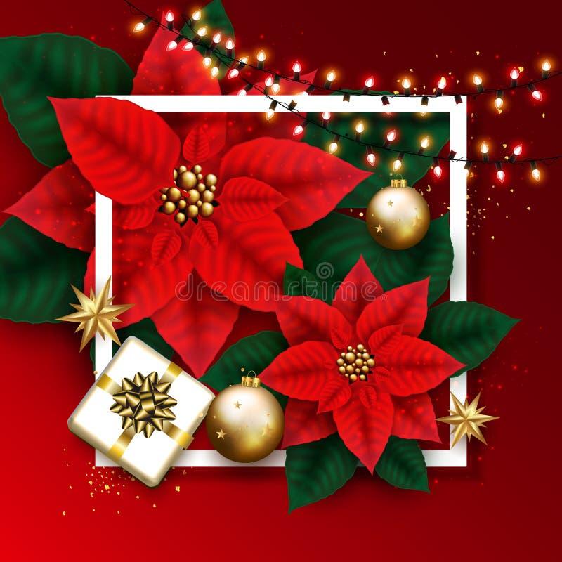 Веселая рождественская открытка с накаляя гирляндой, подарочной коробкой, золотым Bubb иллюстрация вектора