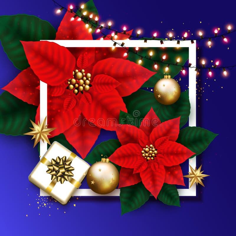 Веселая рождественская открытка с накаляя гирляндой, подарочной коробкой, золотым Bubb бесплатная иллюстрация